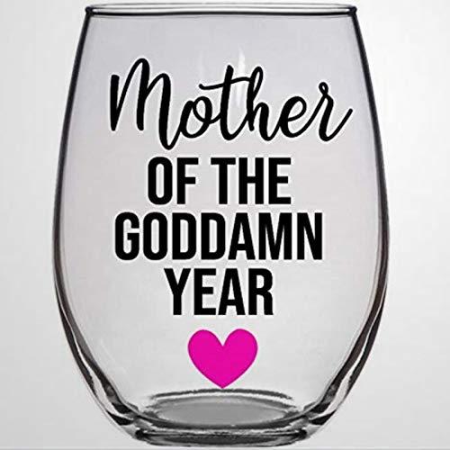 Copa de vino sin tallos de cristal de madre de la maldita año, vaso de chupito de whisky grabado, perfecto para padre, madre, niño o novia, amiga
