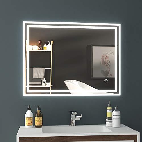 EMKE LED Badspiegel, 90x70cm Badezimmerspiegel mit Beleuchtung kaltweiß Lichtspiegel Wandspiegel mit Touchschalter + beschlagfrei IP44 energiesparend