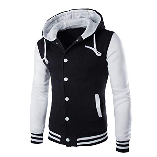 Find Discount cobcob Men's Bomber Jackets,Males Hooded Pockets Coat Buttons Pockets Outwear Sweatshi...
