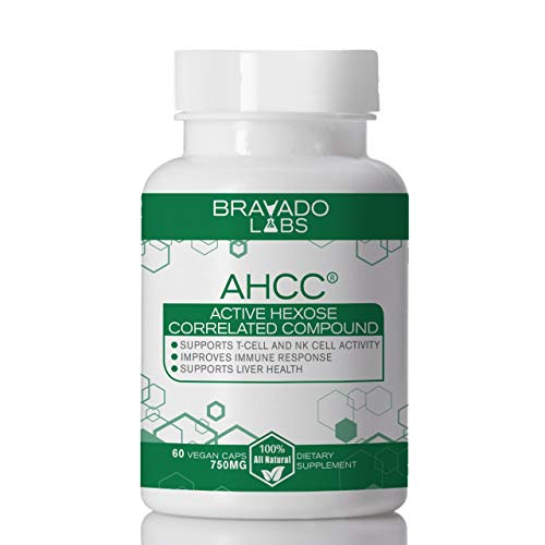 Premium AHCC Supplement 750mg - Bravado Labs - Supports Immune Health, T-Cell and Natural Killer Cell Activity and Liver Function - 60 Vegan caps
