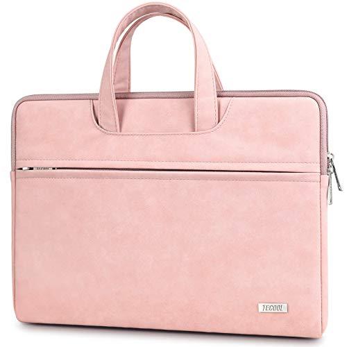 TECOOL 13-14 Zoll Laptop Hülle Tasche mit Handgriff, Notebooktasche Sleeve PU-Leder Schutzhülle Aktentasche für MacBook Air/Pro 13, Surface Laptop 3/2, MateBook D 14, Lenovo/HP/ASUS/Acer/Dell - Baby Pink
