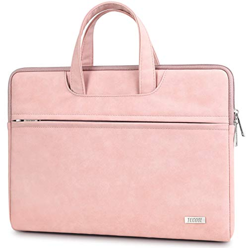 TECOOL 13.3-14 Inch Laptop Sleeve with Handle, Faux Suede Leather Carrying Bag Case, Waterproof Briefcase Cover with Accessory Pocket for Macbook/Huawei/Lenovo/Dell/Hp/Acer/Notebooks - Baby Pink