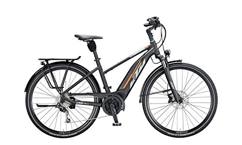 "KTM Macina Fun 510 Bosch Trekking Elektro Fahrrad 2020 (28"" Damen Trapez 51cm, Black Matt/Grey/Orange)"