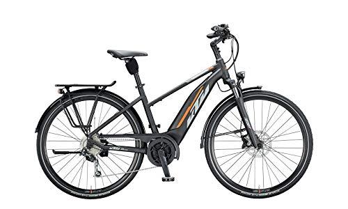 KTM Macina Fun 510 Bosch - Bicicletta elettrica da trekking 2020 (28', trapezio donna 51 cm, nero opaco/grigio/arancione)