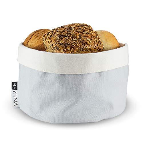 HEYNNA® Brotkorb Stoff - Brötchenkorb als Aufbewahrung von Brot, Brötchen und Gebäck - 100% Baumwolle rund 20cm Ø (grau/Creme)