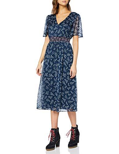 Tommy Jeans Tjw Open Back Dress Vestito, Blu (Paisley Print/Twilight Navy 0zv), 40 (Taglia Unica:...
