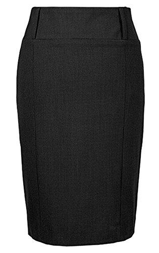 GREIFF Damen-Stiftrock mit Breitem Bund | Doppelte Gürtelschlaufen | Mit Teilungsnähten | Verdeckter Schlitz Hinten | Farbe: Schwarz | Größe: 34