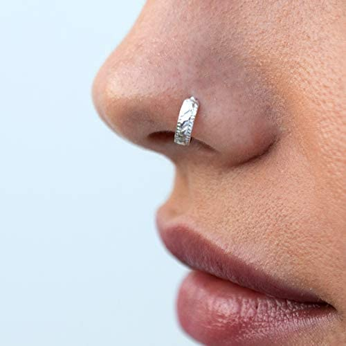 Indian Silver Nose Ring Tribal Rhombus 925 Sterling Silver Nose Hoop Fits Cartilage Helix Tragus product image