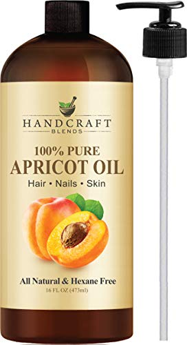 Handcraft Pure Apricot Kernel Oil - 100% Pure And Natural - Premium Quality Cold Pressed Carrier Apricot Oil for Aromatherapy, Massage and Moisturizing Skin - HUGE 16 oz - Packaging May Vary