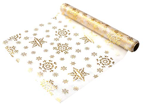 khevga Chemin de Table Noël Runner Table Band Rouleau de Table Organza Noël en Or Argent Flocon de Neige et étoiles 5 mètres x 0,36 m (Flocon de Neige)