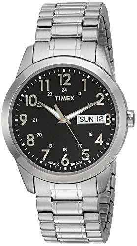 Timex Men's T2M932 South Street Sport Black/Silver-Tone Stainless Steel Expansion Band Watch