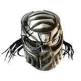 Casco De Moto Personalizado con Auriculares Bluetooth, Casco De Motocross, Casco Completo, Casco Superpuesto Depredador Retro Depredador De Motocicleta, Casco Unisex Adulto,Plata,XXL