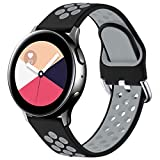 Vobafe Correa Compatible con Samsung Galaxy Watch Active/Active2 Correa 40mm/44mm, Correa Deportiva Reemplazo de Silicona Suave para Galaxy Watch 3 41mm/Gear S2 Classic/Sport, S Negro/Gris
