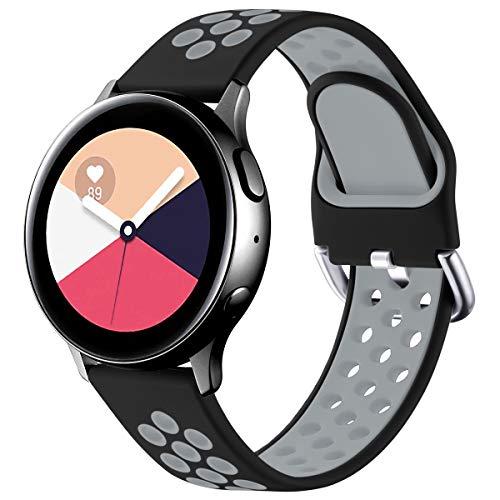 Vobafe Armband Kompatibel mit Samsung Galaxy Watch Active/Active 2 Armband (40mm/44mm), Weiches Silikon Armbänder Sportarmband für Galaxy Watch 3 41mm/Gear S2 Classic/Gear Sport, S Schwarz/Grau