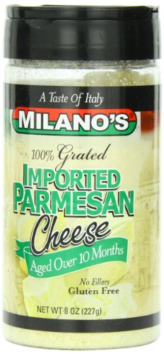 Milano's Parmesan Cheese Jars, Imported Grated, 8 Ounce