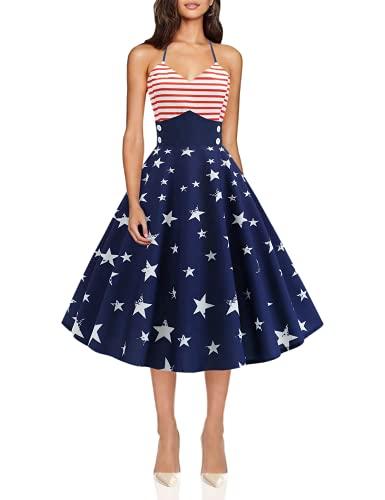 July 4th Dress Women Vintage Sleeveless Halter Neck Printed Evening Party Prom Swing Dress - YOCheerful YOCheerful