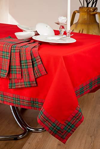 ESSE HOME – CONFESTYL - Tovaglia con tovaglioli Rettangolare x 12 Persone - Puro Cotone – Scozia (180x270, Servizio)