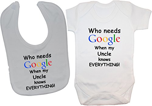 Acce Products Body pour bébé Inscription Who Needs Google When My Uncle Knows Everything - Blanc - 0-3 Mois