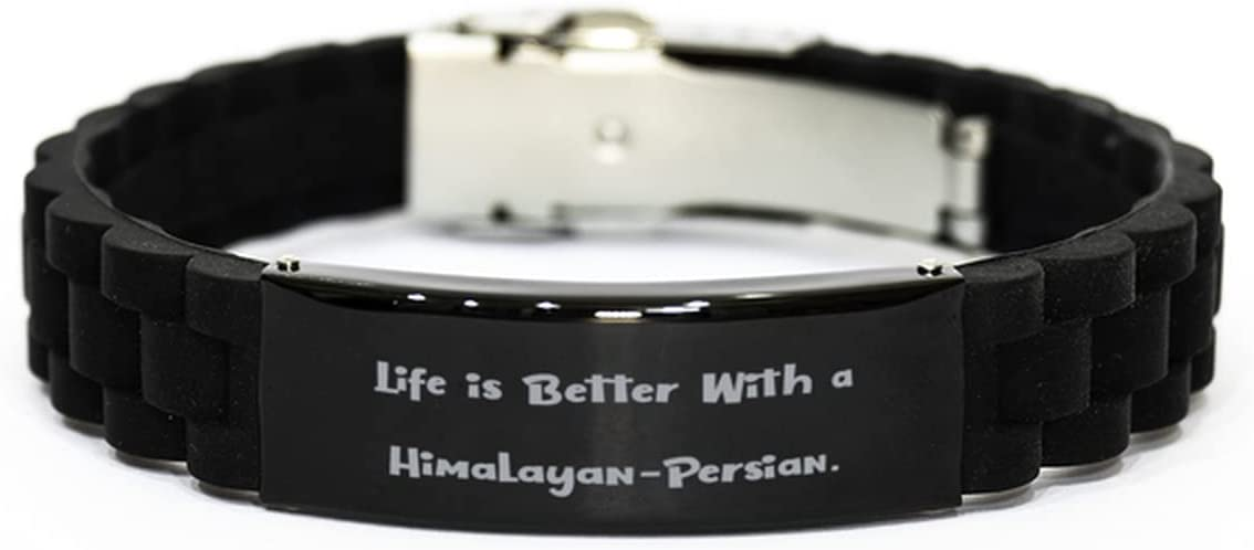 Life is Better with a. Black Glidelock Clasp Bracelet, Himalayan-Persian Cat Engraved Bracelet, Useful Gifts for Himalayan-Persian Cat
