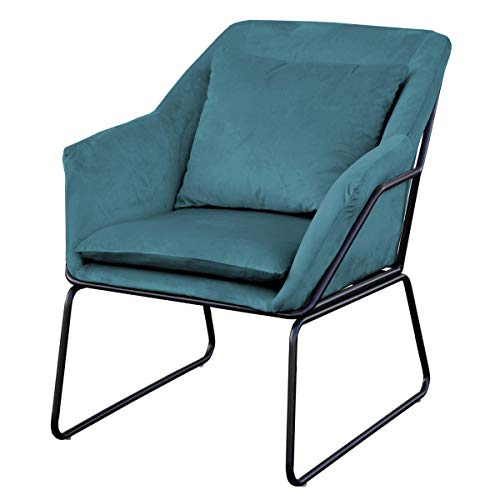 SVITA Josie Sessel gepolstert Beistellsessel Lounge Couch Einzelsofa Relaxsessel Seat Fernsehsessel Stoff inkl. Kissen Stuhl Samt (Petrol, Samt)