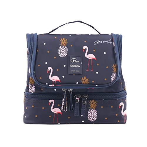 Tuscall Kulturbeutel zum aufhängen Kulturtasche für Damen - Waschbeutel Kosmetiktasche mit Haken für Reisen, Urlaub, Outdoor (Blau Flamingo)