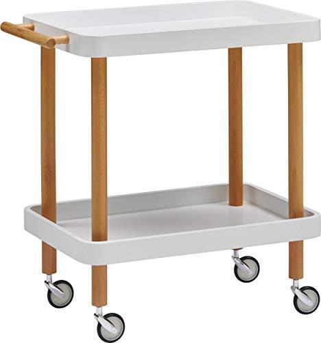 dasmöbelwerk Servierwagen Küchenwagen Rollwagen Beistelltisch mit Rollen Bill Weiß Buchenholz