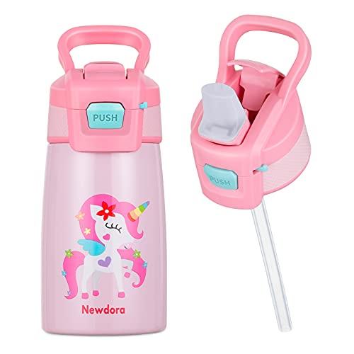 Newdora Botella de Agua para Niños, 350ml Botella de Acero Inoxidable a Prueba de Fugas, Termo con Pajitas, Botella termica de Doble Pared al Vacio, Dibujo de Unicornio