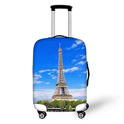 BBOOXX Pintura de Acuarela Funda de Equipaje Torre Eiffel Edificio Tapa de la Caja Caja de Viaje Guardapolvo D-L(26-28in)