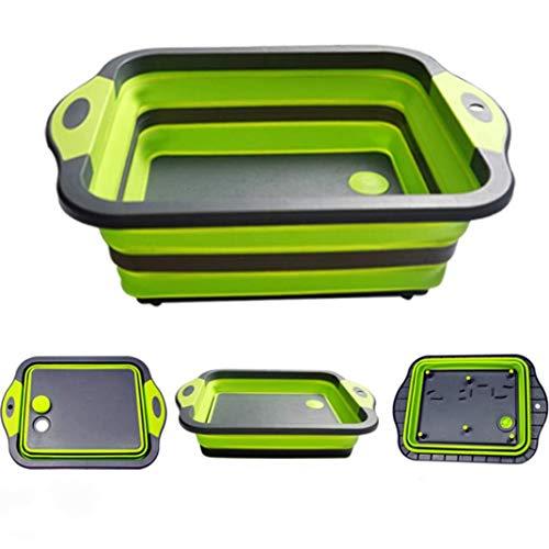 Qiusa Multifunktionales Schneidebrett Faltbare Spülschüssel – Faltbares Brett / Filterkorb / Tragbares Faltbecken / Küchenspüle Ideal für Camping, Wohnwagen, Outdoor-Aktivitäten, Küche
