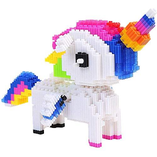 Portonss Bloques de construcción de micropartículas de Mini Rompecabezas, Modelo de Pony, Bloques de construcción de Unicornio, Regalos de Juguete para niños y niñas