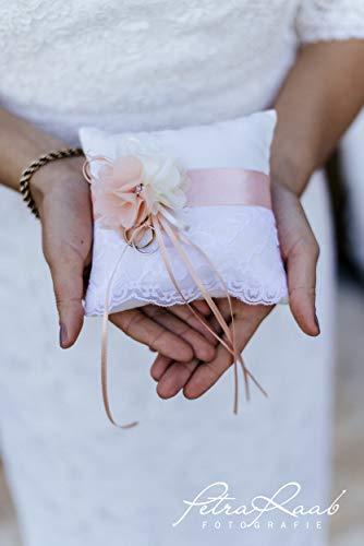 AK33 Ringkissen Hochzeit Schleife Spitze elfenbein Boho Deko ivory, Mini Ring Pillow, Rustic Wedding...