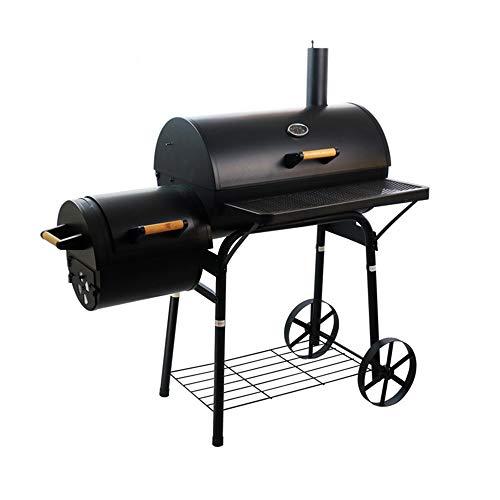 YDYG Großer Barbecue Smoker Grill, Ölfass Holzkohle BBQ Grill, mit Rauch-Stack mit Rädern und Thermometer, für mehr als 5 Personen im Freien Garten Innenhof Villa Hotel