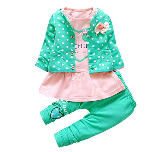 Great Deal! Goddesslili Baby Girl Clothes, Dot Floral 3 Pairs Outfits 0-24 Month Green