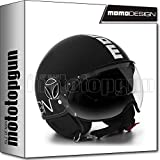 Momo Design - Casco de moto Jet Fighter Evo, color negro mate y blanco, talla L
