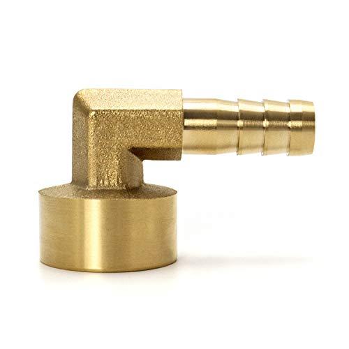 QWORK Codo de 90 Grados Acople de Latón ,10mm x G1/2 , 2 Piezas