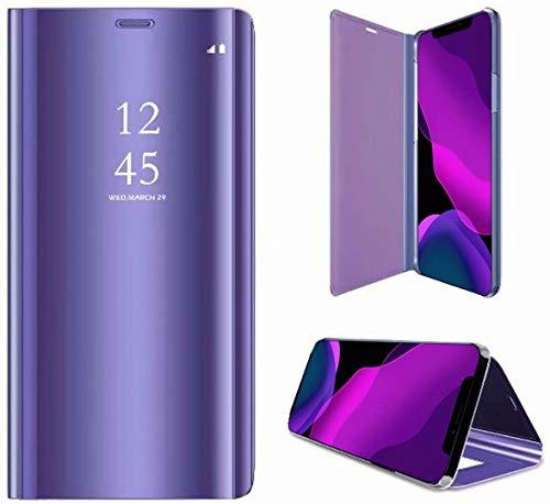 2ndSpring Spiegel Hülle kompatibel mit OppoReno 5 / Find X3 Lite,Mirror Schutzhülle Clear View Protective Flip Hülle Hülle Cover,Violett