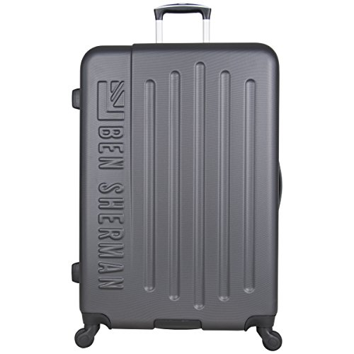 Ben Sherman 28' Abs 4-Wheel Upright Checked Luggage, Charcoal