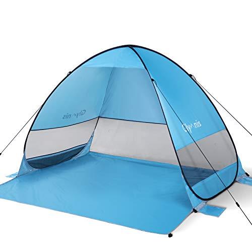 Glymnis Tenda da Spiaggia Pop-up Portatile Tenda Istantanea per 3-5 Persone, Protezione Solare UPF 50+, Include Borsa Portatile