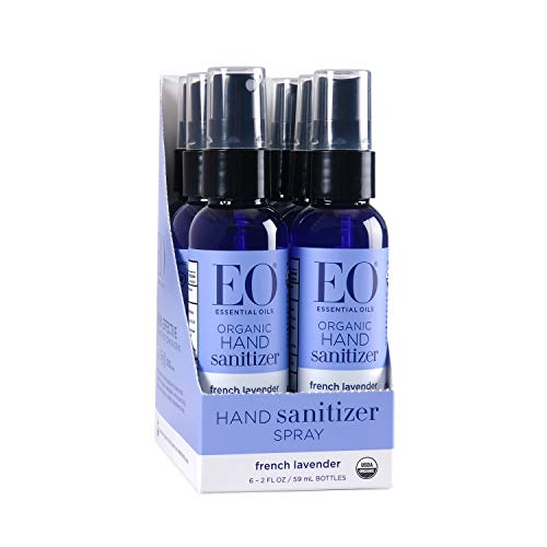 EO Hand Sanitizer Spray, Organic French Lavender, 2 Ounce (Pack of 6)
