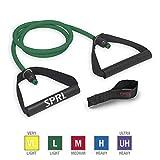 SPRI Xertube Resistance Bands Exercise Cords w/Door Attachment, Green, Light
