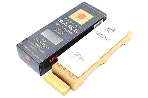 Pierre à Aiguiser Japonaise King Gold Stone G-1 Grain #8000 avec Support Affuter Couteau Cuisine