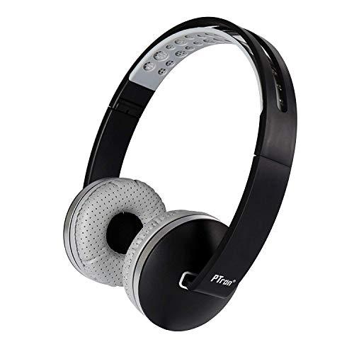 ptron Rebel Stereo Wired hörlurar med mikrofon för alla smartphones (svart, grå, vikbar, på örat, klart ljud, 3,5 mm kontakt, platt kabel)