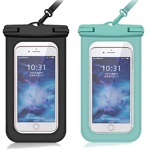 ZAYONG Funda impermeable para teléfono móvil, 2 unidades, IPX8, 7,0 pulgadas, para natación, baño, compatible con iPhone 12, Samsung, Huawei, etc. (verde, negro)