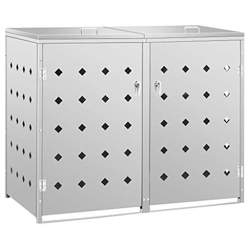 vidaXL Mülltonnenbox für 2 Tonnen Müllbox Mülltonnenverkleidung Mülltonne Mülltonnenbox Müllcontainer Gerätebox 240L Edelstahl Silbern
