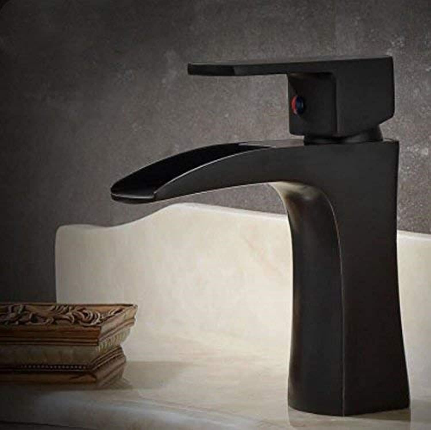Oudan American Style Simple Blackening Single Single Hole Black Black Copper Basin Cold and Hot Water Faucet Basin Ancient Antique Black Water Faucet (color   -, Size   -)