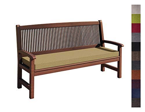 sunnypillow Coussin pour Banc de Jardin 110 x 40 x 5 cm plusieures Tailles et Couleurs à Choisir Assise Confortable pour Banc de terrasse/Balcon/Banquette/Galette de Chaise Beige