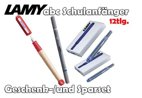 LAMY abc Schulanfänger Füllfederhalter ROT [Starter-/Geschenkset] inkl. 2 Päckchen Tintenpatronen = 10Stk. & Tintenkiller F