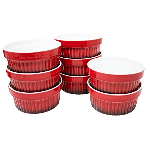 ToCi Ofenschalen 8er-Set 260ml Dessertschalen rot für Creme Brulee, Ragout Fin oder...