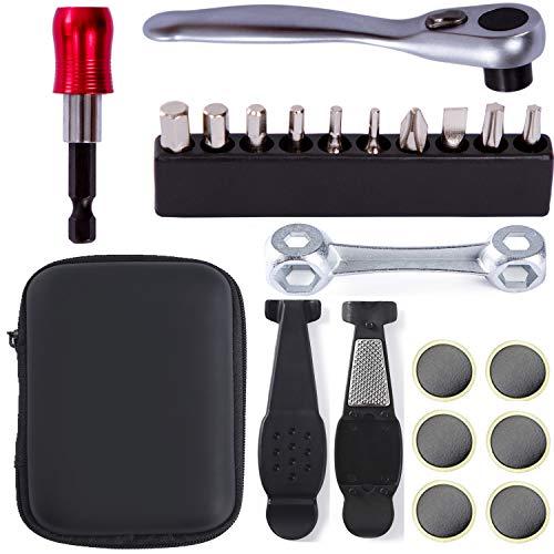 COZYROOMY Multi-Tool Fahrrad Reparatur Set-Fahrrad Werkzeug Set mit Mini Ratschen Werkzeug Und Bitset, Reifenreparatur Werkzeug Fahrrad Tragbares Werkzeug Bag