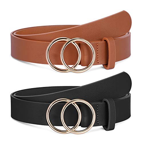 2 Pack Women Leather Belts Faux Leather Jeans Belt with Double O-Ring Buckle (Black & Brown, S)